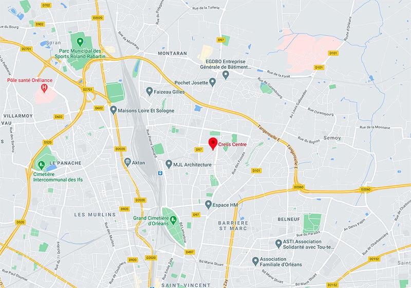 Carte de localisation CRESS Centre - Val de Loire