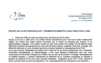 Projet de loi de finances 2018 : Premiers éléments d'analyses pour l'ESS