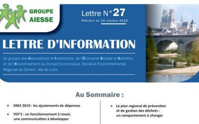 Lettre N°27 du Groupe AIESSE du Ceser